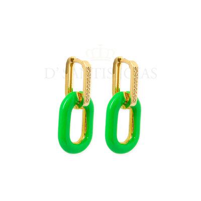 Argola Cravejada com Clipe Verde Esmaltado Ouro18k