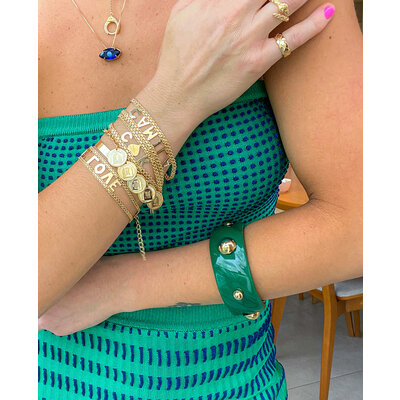 Bracelete Resina Cosmos Colors Ouro (escolha a cor)