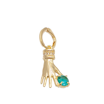 Argola e Pingente Mão com Ponto Turmalina Paraiba ouro