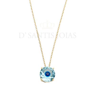 Colar Ponto Olho grego Azul Ouro18k