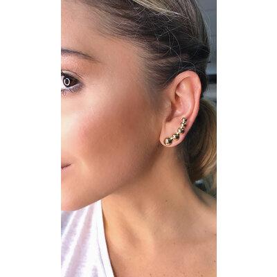 Brinco ear Cuff bolinhas ouro18k
