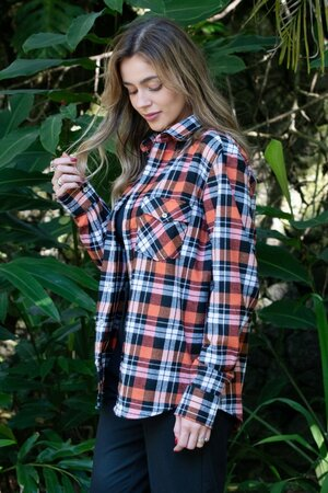 Camisa Oversized Xadrez Orange