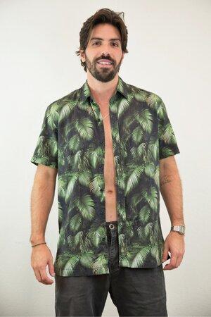 Camisa Masculina Estampada Folhagem