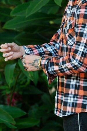 Camisa Masculina Xadrez Orange