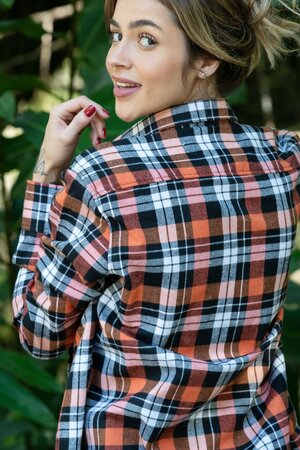 Camisa Boyfriend Xadrez Orange