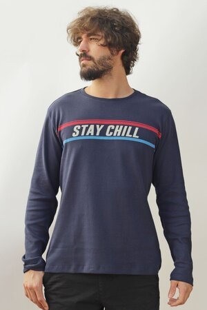 T-shirt Stay Chill Manga Longa