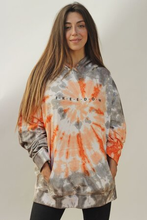 Moletom Tie Dye Orange Oversized