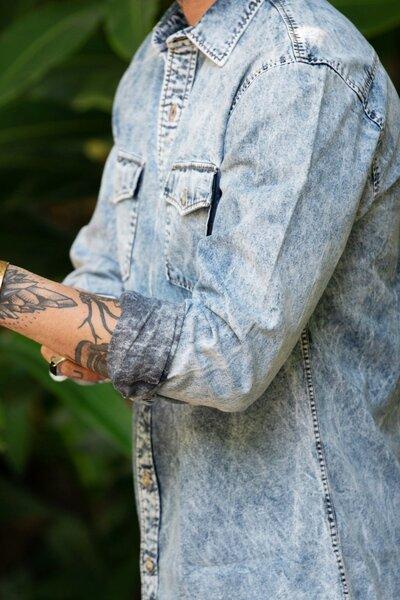 Camisa Masculina Jeans Clarity Stoned