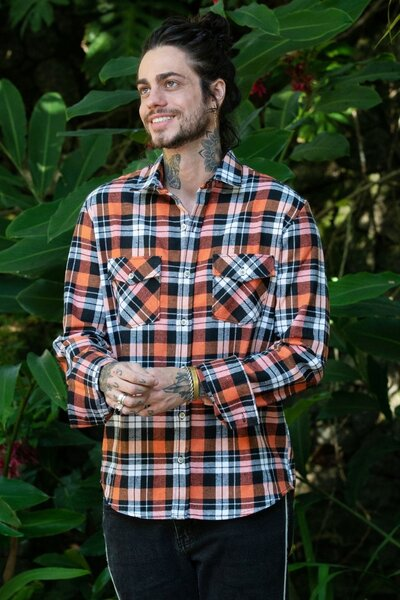Camisa Masculina Xadrez Orange