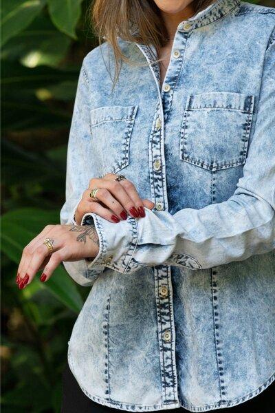 Camisa Feminina Jeans Clarity Stoned