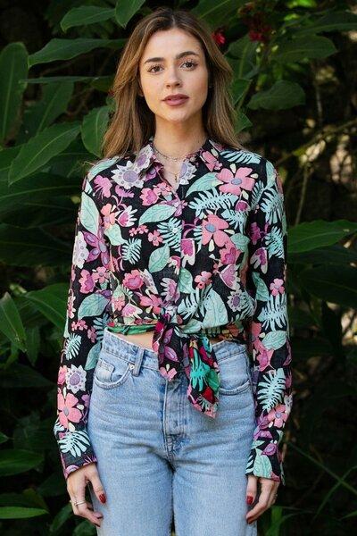 Camisa Flowers Black