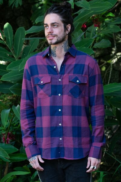Camisa Masculina Xadrez Purple