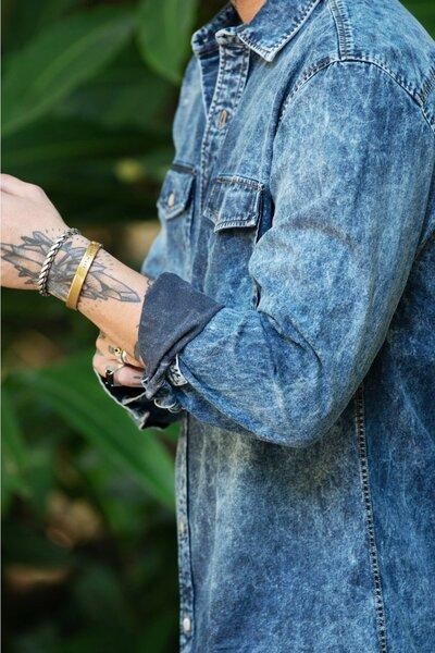 Camisa Masculina Jeans Dark Stoned