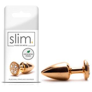Plug Anal de Metal Slim Cravejado Dourado 7 cm x 2,5 cm