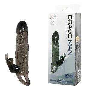 Capa Peniana Extensora Brave Man com Estimulador Vibratório 17 cm x 4 cm