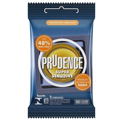 Preservativo Prudence Super Sensitive com 3 Unidades - Até 48% Mais Fino!