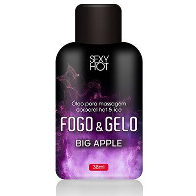 Óleo Beijável para Massagem Fogo & Gelo Bebida Big Apple 38ml