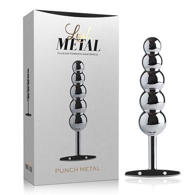 Lust Metal - Plug Anal Punch Prata com Formato Anatômico 15,3 cm x 3,2 cm
