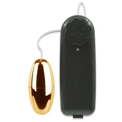 Cápsula Vibratória Dourada de Multivelocidade com Controle 5,5 cm x 2,5 cm