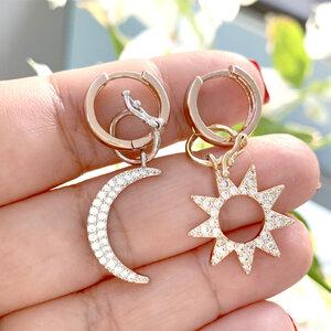 Argola Sol e Lua Rosê Semijóia