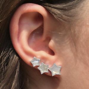 Brinco Ear Cuff Estrelas Madrepérola Prata 925