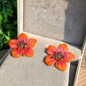 Brinco Flor Coral e Rosa Perolado Pintado a Mão