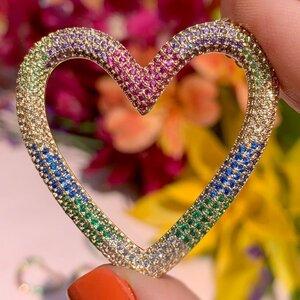 Colar Coração Cravejado Zircônias Coloridas Banho de Ouro 18 K Semijóia