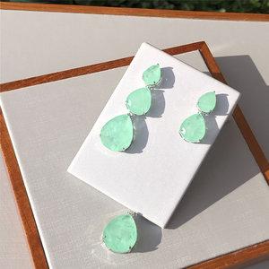 Brinco Gotas Luxo 3 em 1 Esmeralda Colombiana Ródio Branco Semijóia