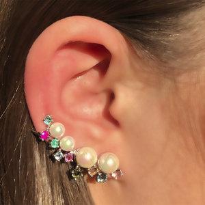 Brinco Ear Cuff Pérolas e Turmalinas Prata 925