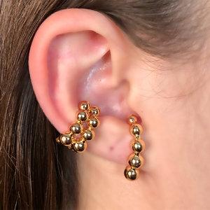 Brinco Ear Hook Esferas Banho de Ouro 18 K Semijóia