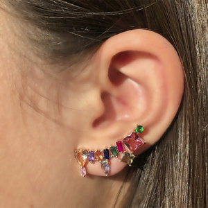 Brinco Ear Cuff Turmalinas Coloridas Rosê Semijóia