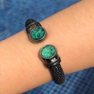 Bracelete Galuchat Preto Esmeralda Colombiana