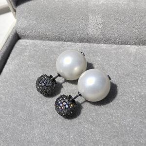 Brinco Inspiração Esferas Pérola Ródio Negro Semijóia