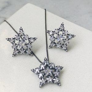 Conjunto Estrela Vazada Ródio Negro Semijóia