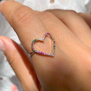 Anel Coração Vazado Zircônias Coloridas Rosê Semijóia