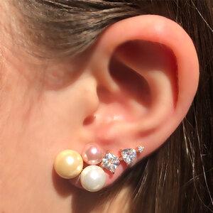 Brinco Ear Cuff Pérolas e Zircônias Rosê Semijóia