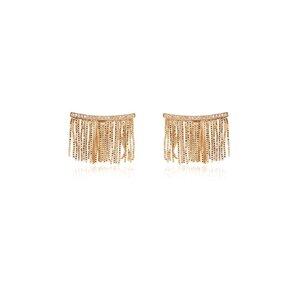Brinco Ear Cuff Franja Banho de Ouro 18 K Semijóia