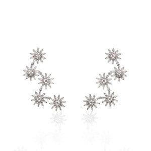 Brinco Ear Cuff Margaridas Zircônias Brancas Ródio Branco Semijóia
