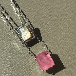 Escapulário Turmalina Rosa Fusion Nossa Senhora Aparecida Prata 925