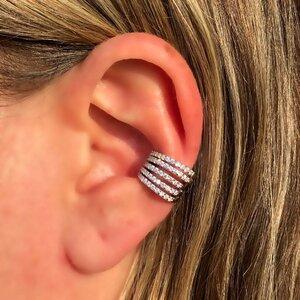 Falso Piercing Cinco Linhas Cravejadas Prata 925