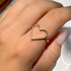 Anel Coração Vazado Zircônias Banho de Ouro 18 K Semijóia