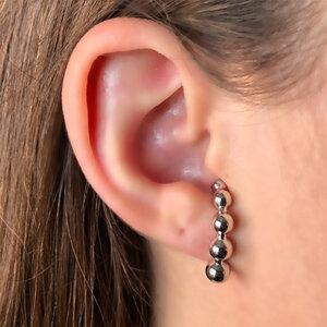 Brinco Ear Hook Esferas Ródio Branco Semijóia