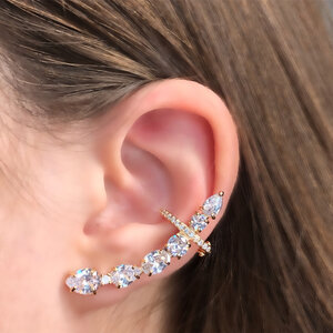 Brinco Max Ear Cuff Banho de Ouro 18 K Semijóia