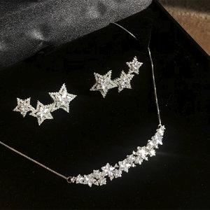 Conjunto Star Ródio Branco Semijóia