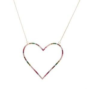 Colar Coração Vazado Zircônias Coloridas Rosê Semijóia