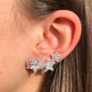 Brinco Ear Cuff Três Estrelas Ródio Branco Semijóia
