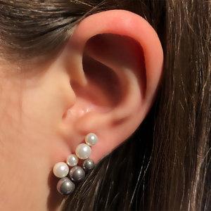 Brinco Ear Cuff Perolinhas Duplo Banho de Ouro 18 K Semijóia