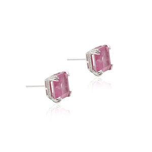 Brinco Quadrado Turmalina Rosa Fusion Prata 925