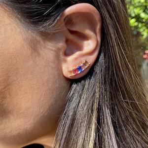 Brinco Ear Cuff Colorido Banho Rosê Semijóia
