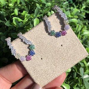 Brinco Ear Hook Flores Coloridas Prata 925